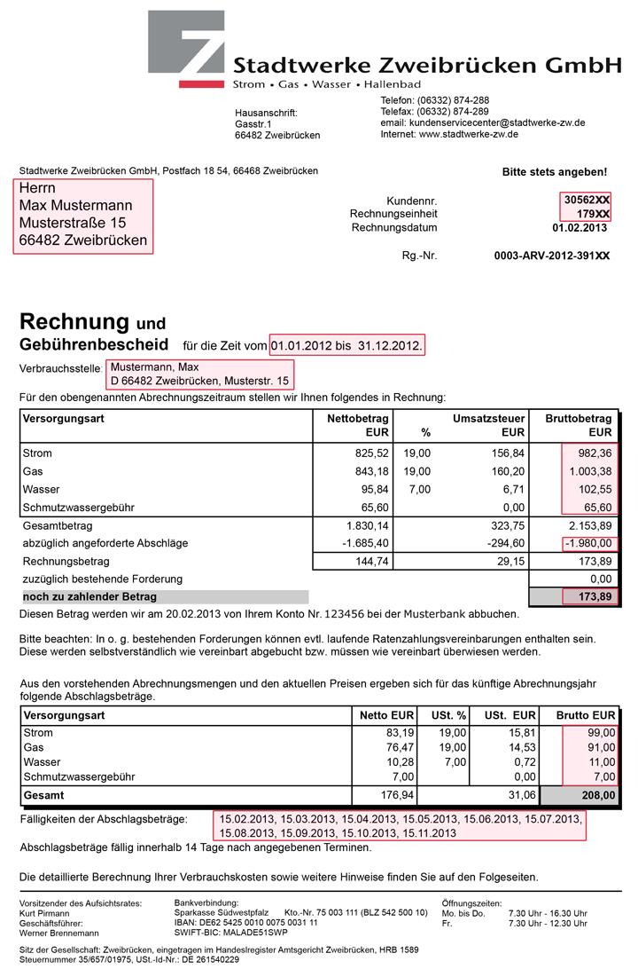Rechnung - Stadtwerke Zweibrücken GmbH
